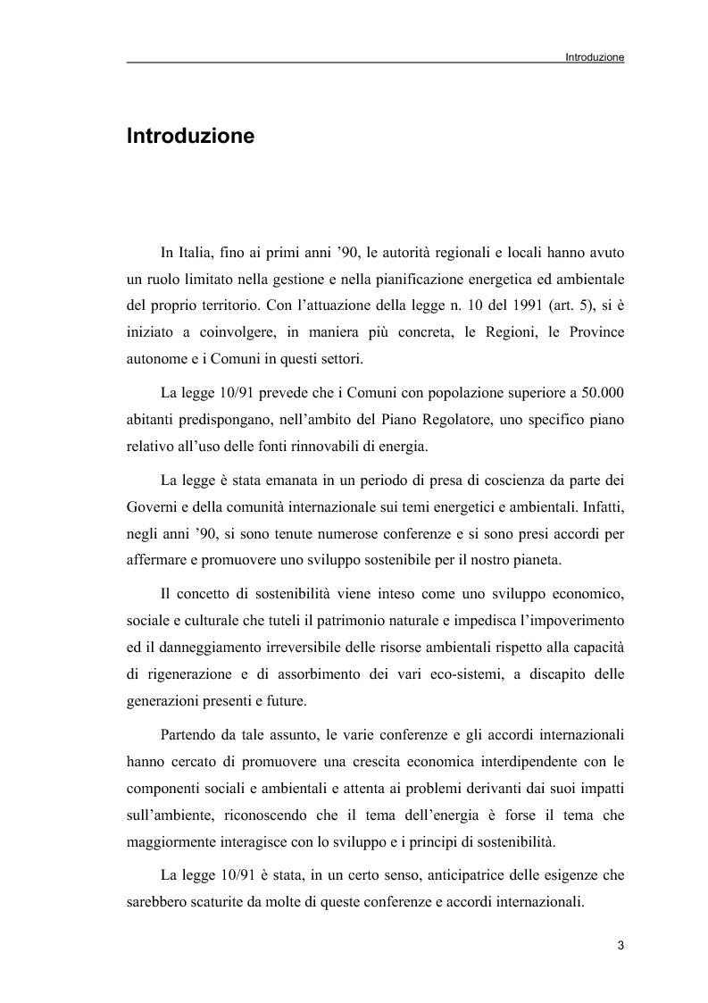 Anteprima della tesi: Piani Energetici e Ambientali Comunali: definizione dei criteri per la scelta degli interventi, Pagina 1