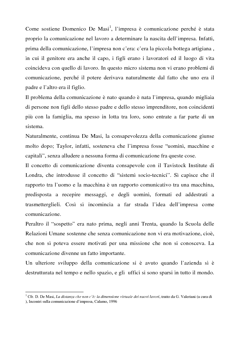 Anteprima della tesi: La comunicazione aziendale interna: il caso Tim, Pagina 3