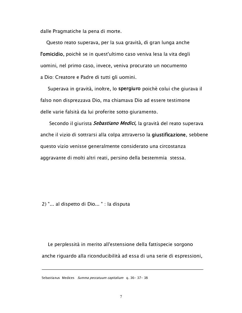 Anteprima della tesi: Il reato di bestemmia nel 1500, Pagina 7