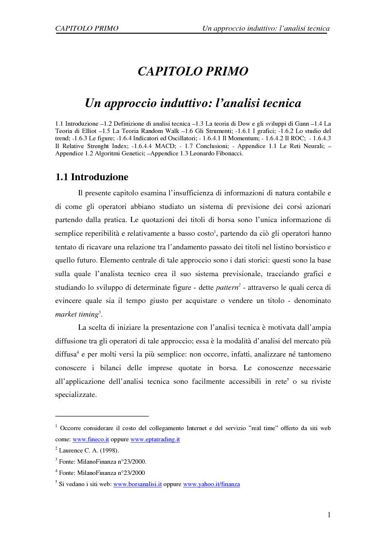 Anteprima della tesi: Attività di previsione dei corsi azionari, Pagina 1