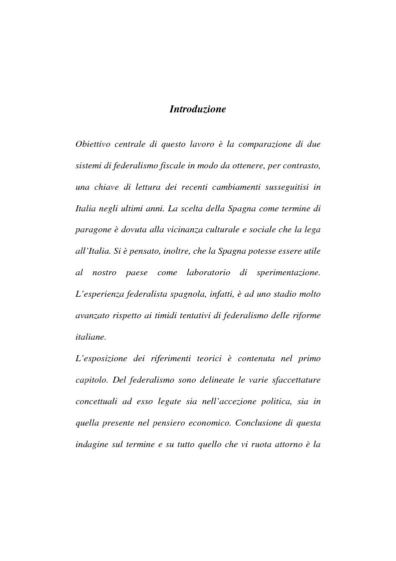 Anteprima della tesi: Sistemi di federalismo fiscale comparato: il caso Italia-Spagna, Pagina 1