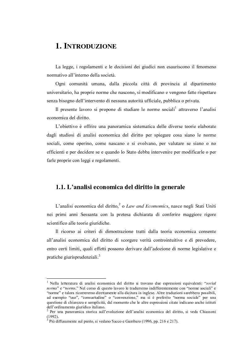 Anteprima della tesi: Analisi economica delle norme sociali, Pagina 1
