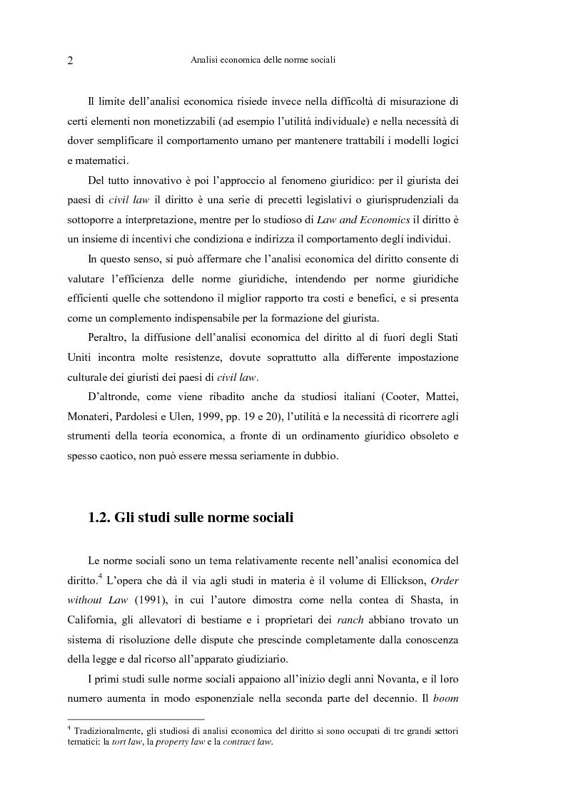 Anteprima della tesi: Analisi economica delle norme sociali, Pagina 2