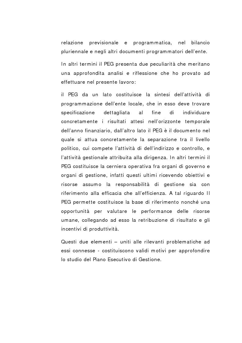 Anteprima della tesi: Il Peg nella contabilità comunale, Pagina 2