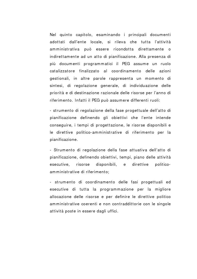 Anteprima della tesi: Il Peg nella contabilità comunale, Pagina 7