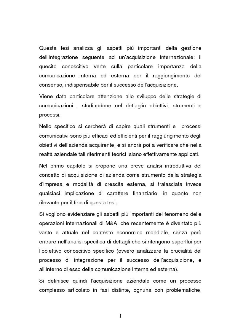 Anteprima della tesi: L'integrazione post-acquisizione nelle operazioni internazionali: il ruolo della comunicazione interna ed esterna, Pagina 1