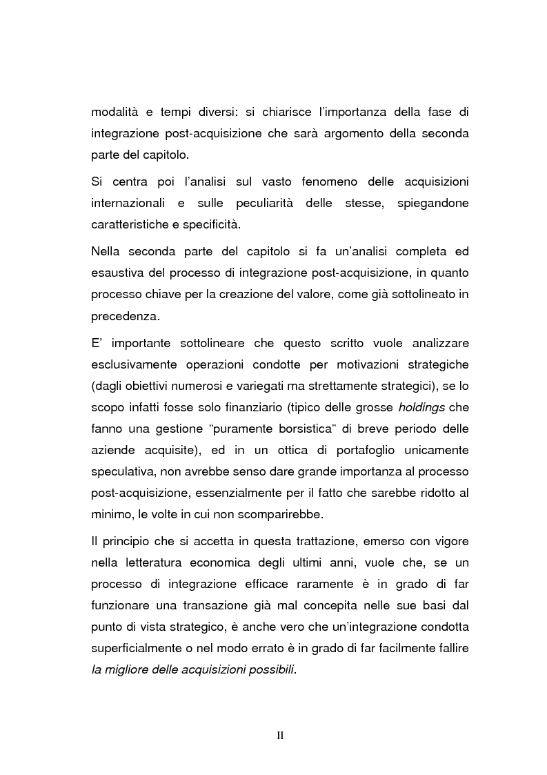 Anteprima della tesi: L'integrazione post-acquisizione nelle operazioni internazionali: il ruolo della comunicazione interna ed esterna, Pagina 2