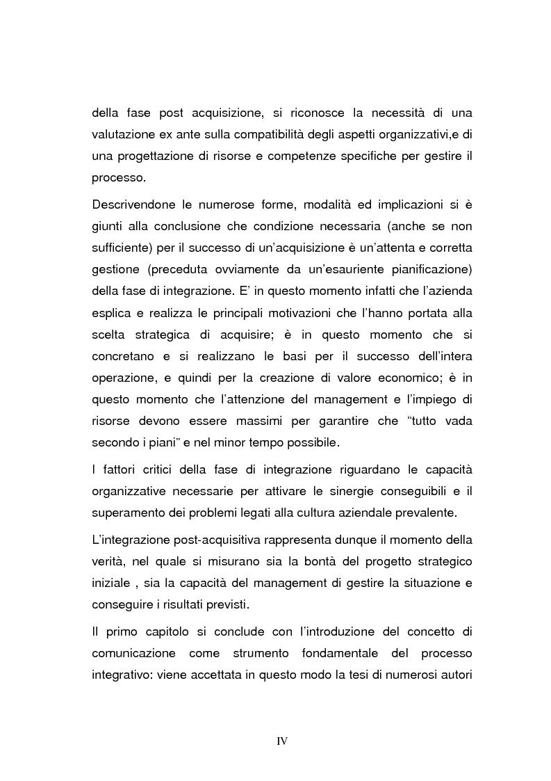 Anteprima della tesi: L'integrazione post-acquisizione nelle operazioni internazionali: il ruolo della comunicazione interna ed esterna, Pagina 4