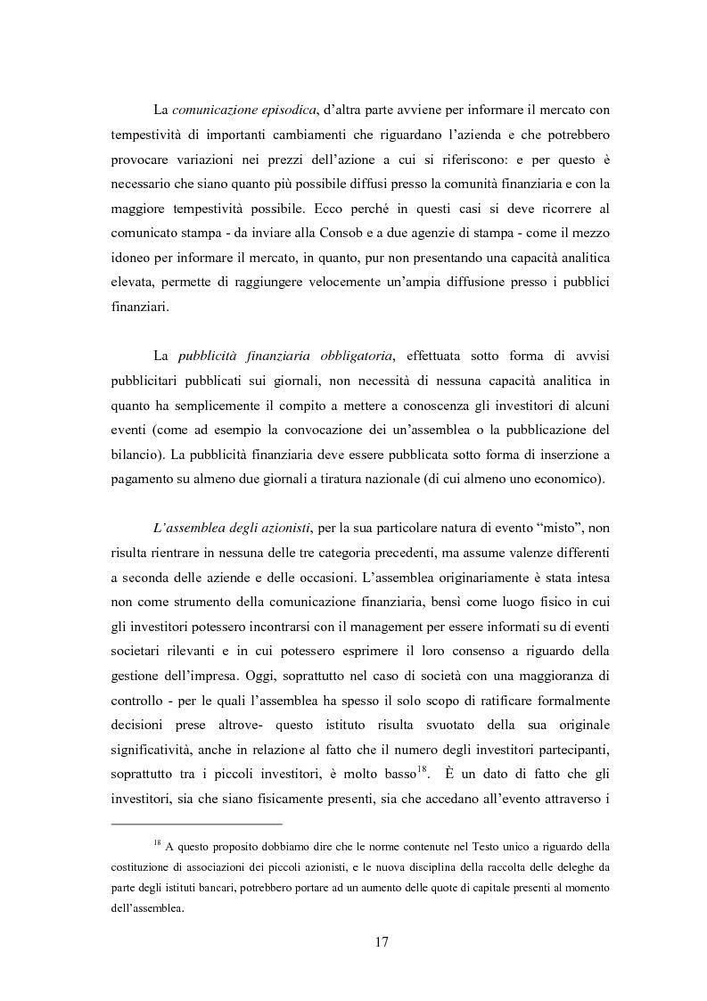 Anteprima della tesi: Comunicazione, immagine e valore d'impresa. Oltre la disclosure: la comunicazione finanziaria come mezzo per costruire la percezione del valore di mercato dell'impresa, Pagina 14