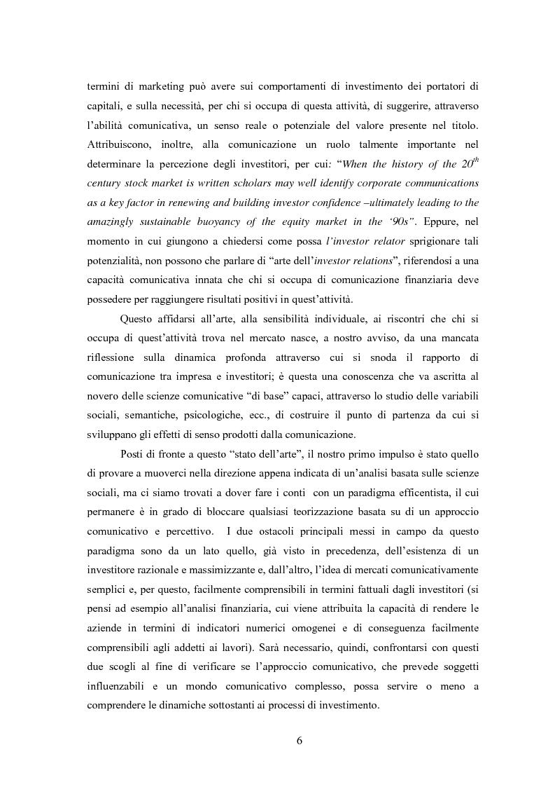 Anteprima della tesi: Comunicazione, immagine e valore d'impresa. Oltre la disclosure: la comunicazione finanziaria come mezzo per costruire la percezione del valore di mercato dell'impresa, Pagina 3