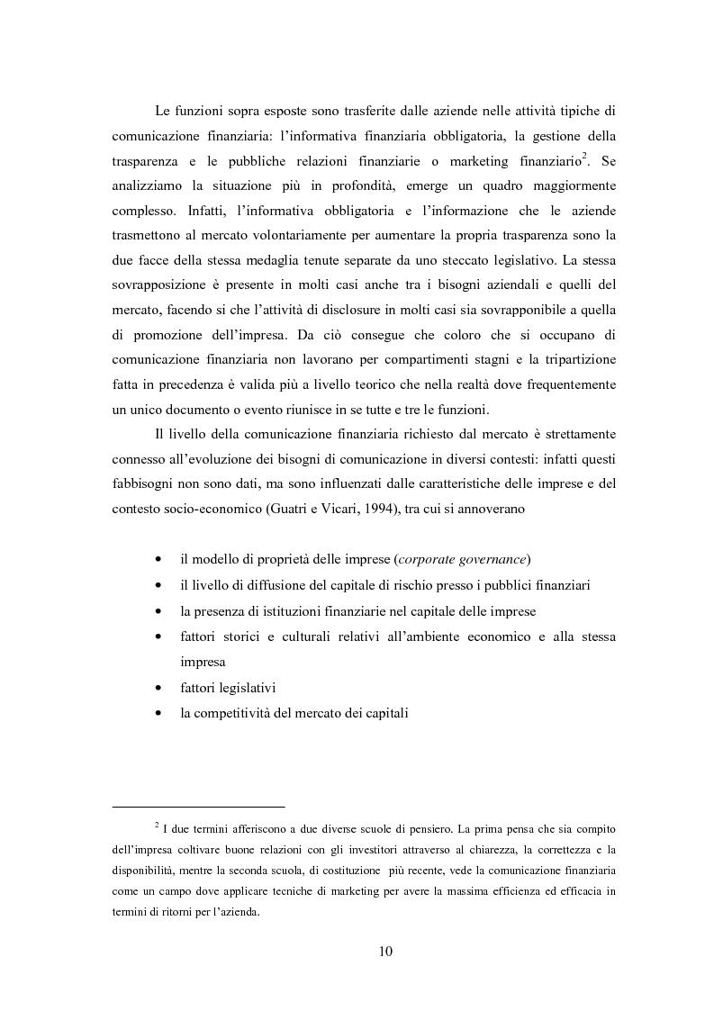 Anteprima della tesi: Comunicazione, immagine e valore d'impresa. Oltre la disclosure: la comunicazione finanziaria come mezzo per costruire la percezione del valore di mercato dell'impresa, Pagina 7