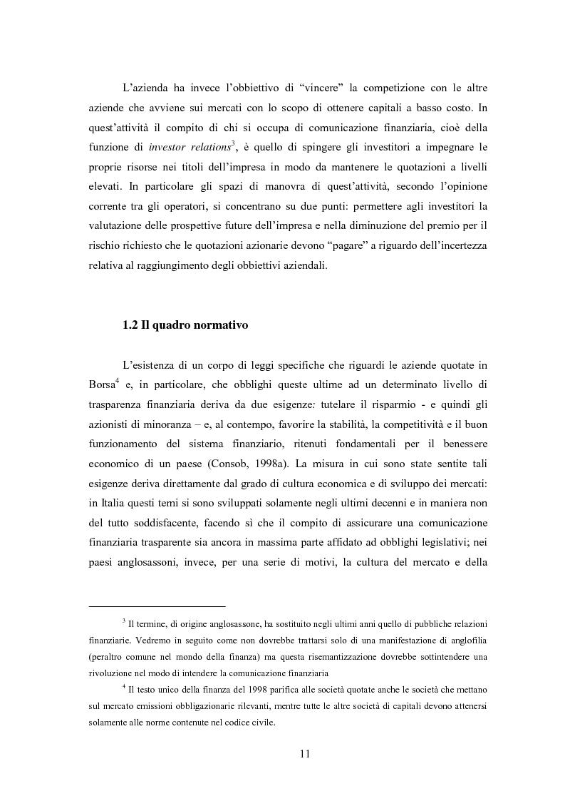 Anteprima della tesi: Comunicazione, immagine e valore d'impresa. Oltre la disclosure: la comunicazione finanziaria come mezzo per costruire la percezione del valore di mercato dell'impresa, Pagina 8