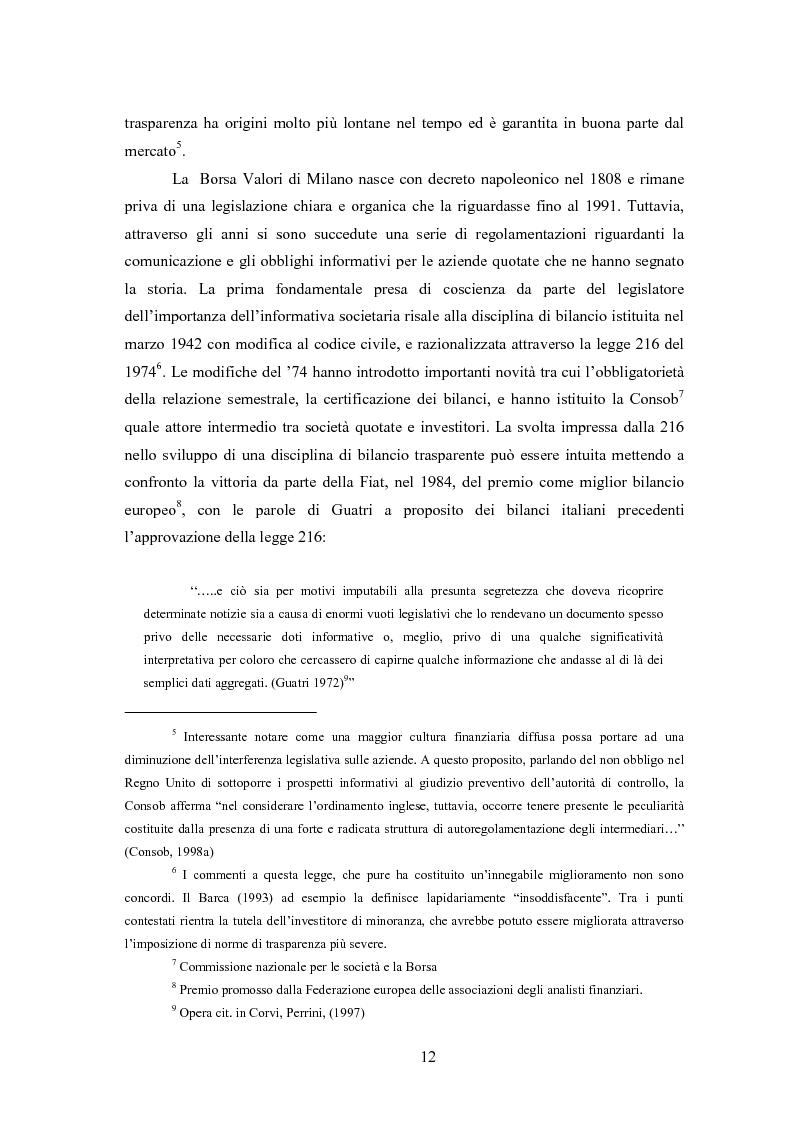Anteprima della tesi: Comunicazione, immagine e valore d'impresa. Oltre la disclosure: la comunicazione finanziaria come mezzo per costruire la percezione del valore di mercato dell'impresa, Pagina 9