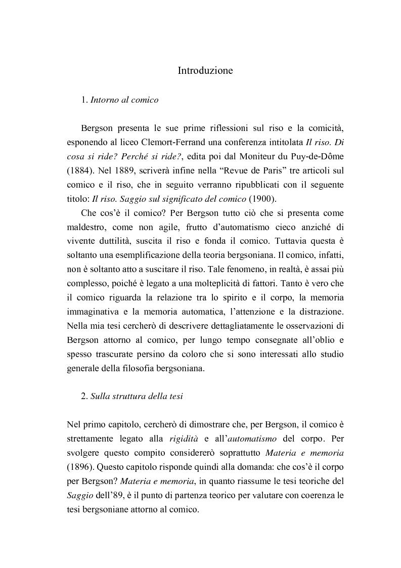 Anteprima della tesi: Intorno al concetto di comico in Henri Bergson, Pagina 1