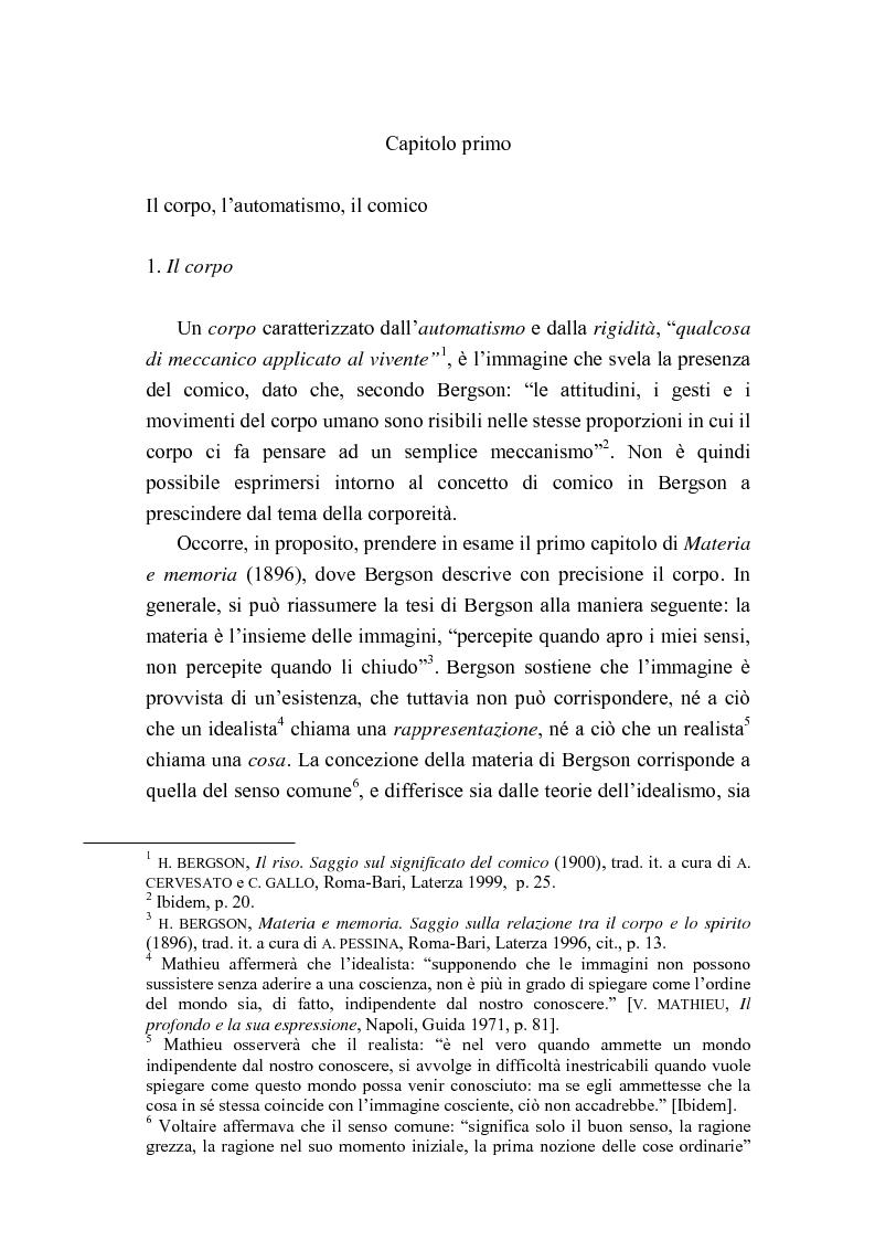Anteprima della tesi: Intorno al concetto di comico in Henri Bergson, Pagina 4