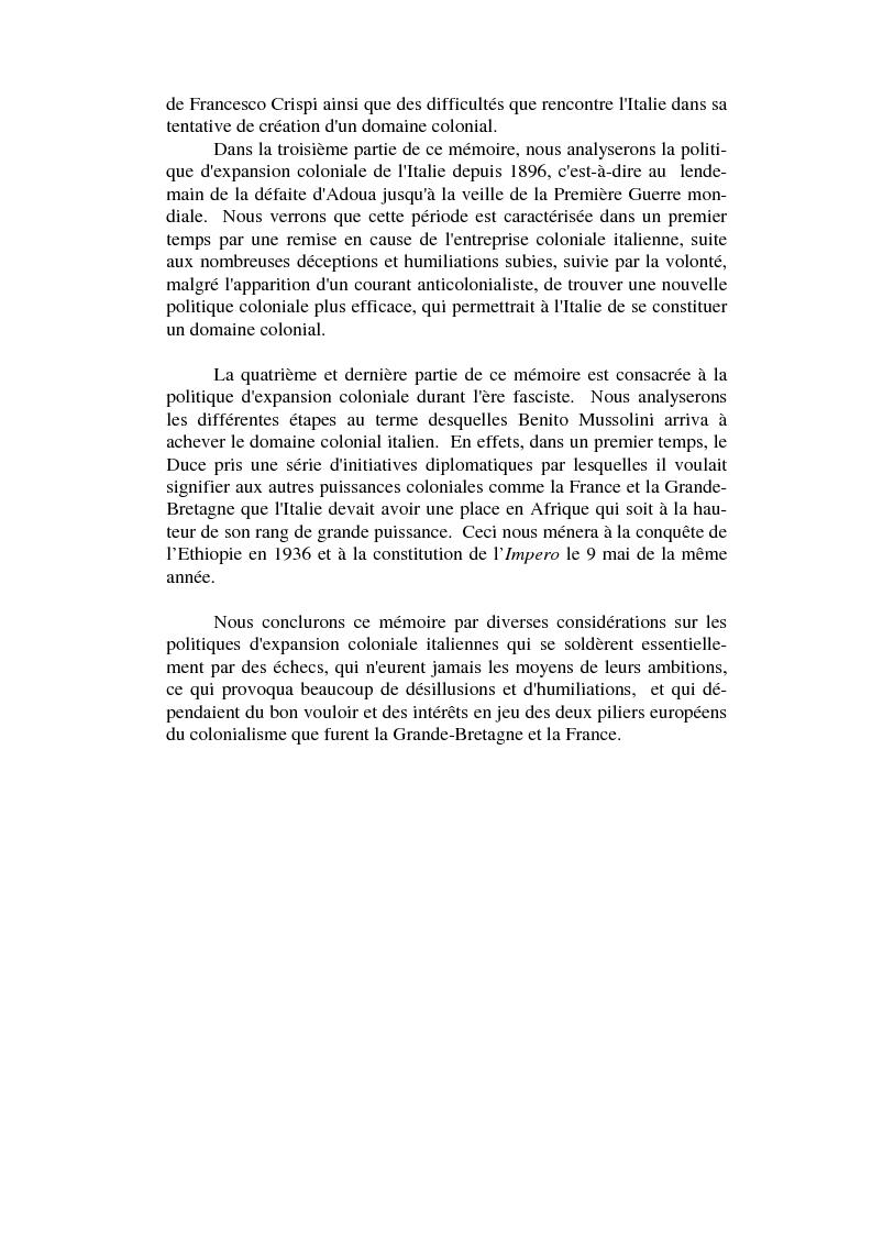 Anteprima della tesi: L'impèrialisme colonial italien depuis Crispi jusqu'à l' Impero, Pagina 2