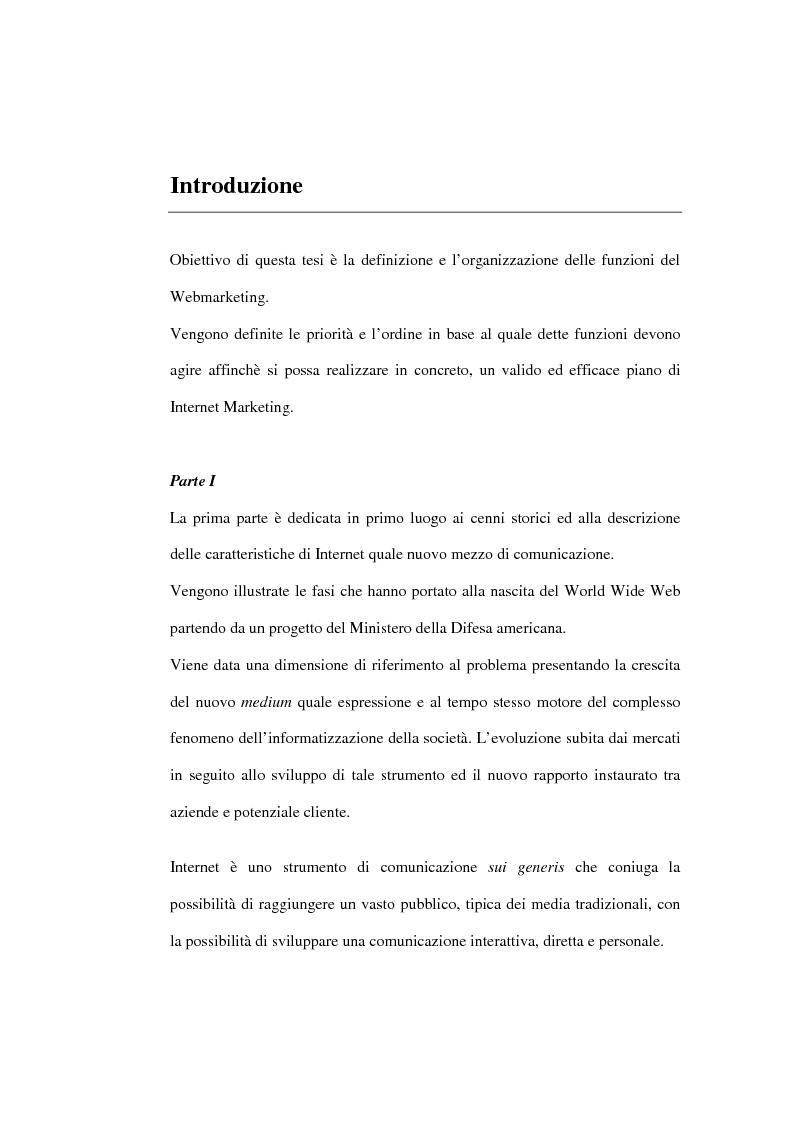 Anteprima della tesi: Organizzazione delle funzioni del Webmarketing, Pagina 1