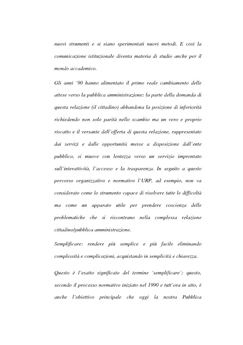 Anteprima della tesi: Comunicazione istituzionale e utenza: dall'estraneità alla familiarità dell'istituzione, Pagina 2