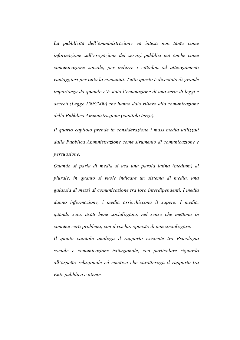 Anteprima della tesi: Comunicazione istituzionale e utenza: dall'estraneità alla familiarità dell'istituzione, Pagina 5