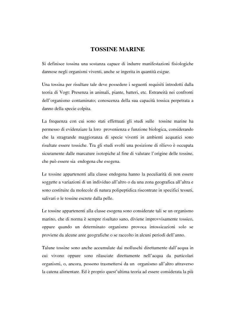 Anteprima della tesi: Isolamento e determinazione strutturale di una nuova citotossina riscontrata dai mitili del Mar Adriatico, Pagina 4