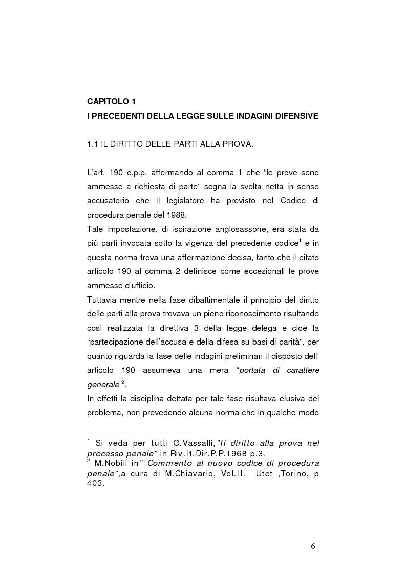 Anteprima della tesi: La nuova legge sulle indagini difensive, Pagina 1