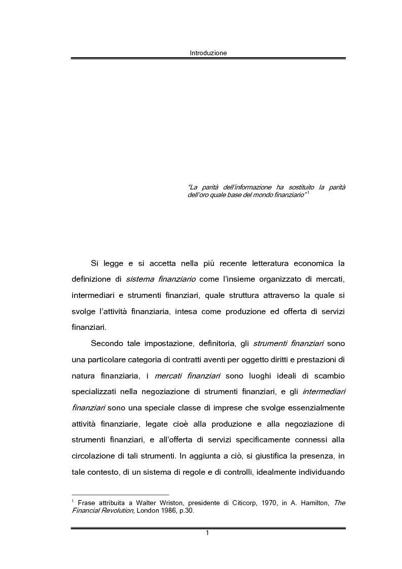 Anteprima della tesi: Regolamentazione finanziaria e vigilanza globale, Pagina 1