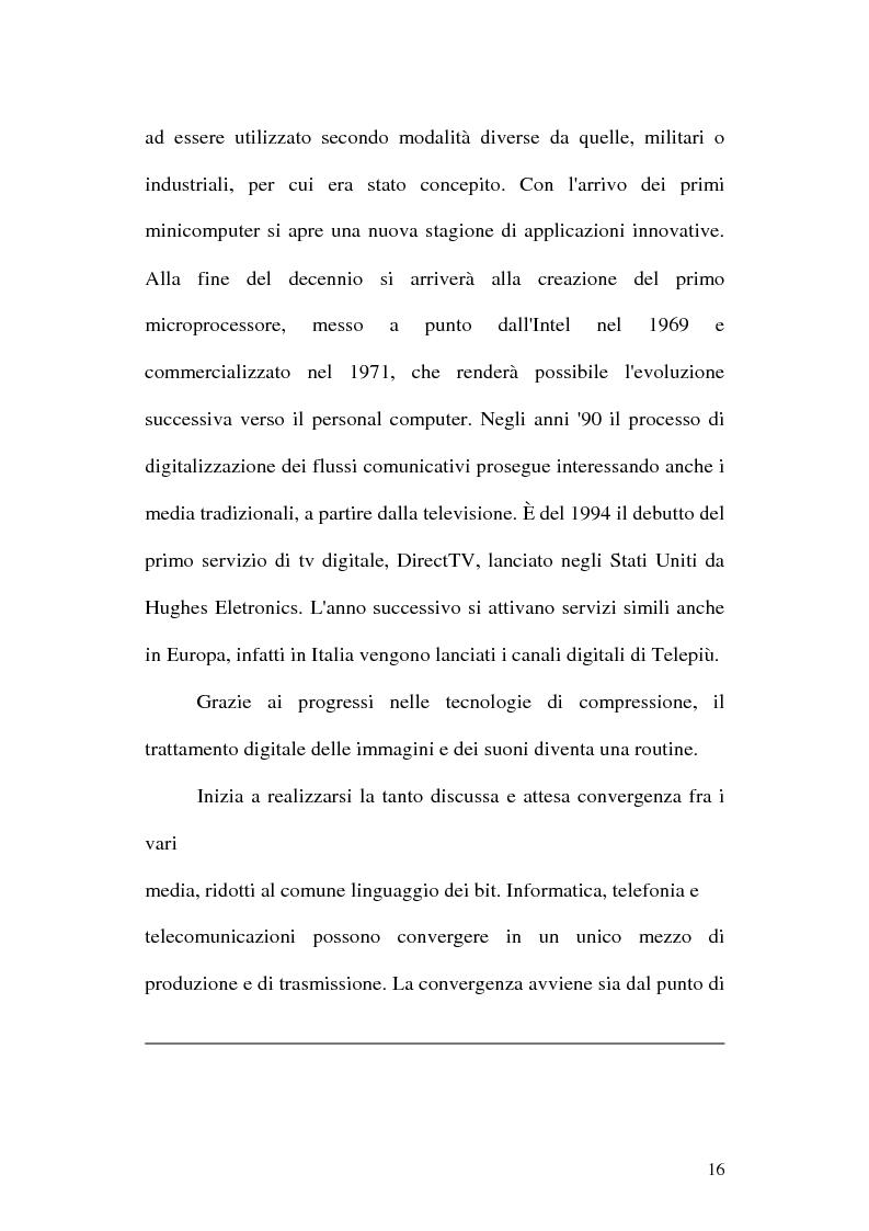Anteprima della tesi: Web television, il medium della convergenza. Potenzialità, plausibilità ed il case history del Centro MultiMediale di Terni, Pagina 13