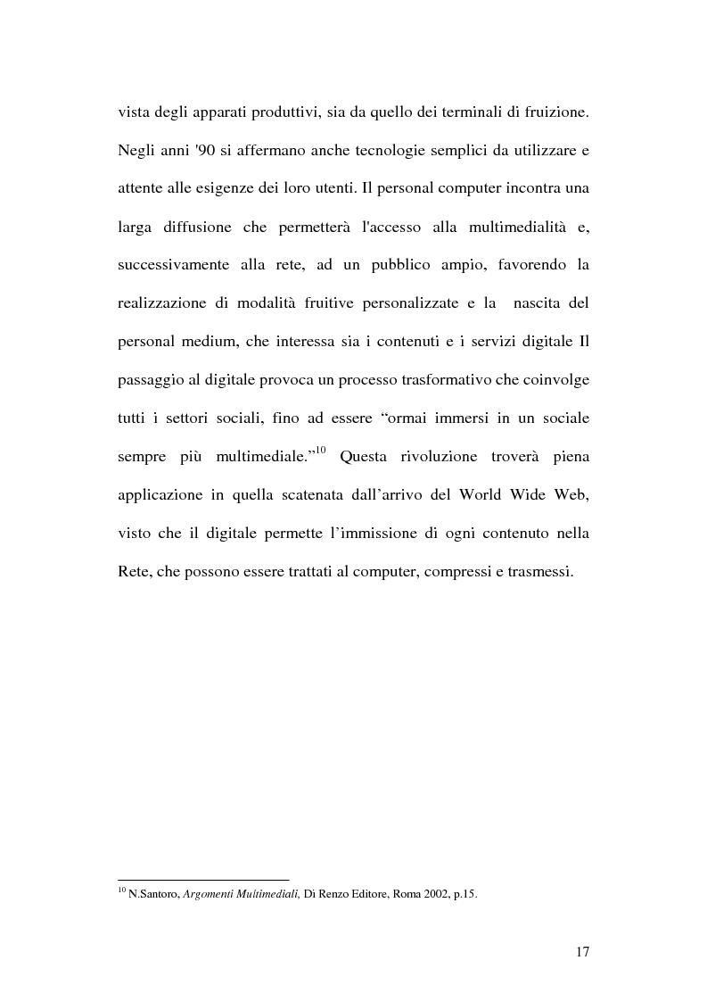 Anteprima della tesi: Web television, il medium della convergenza. Potenzialità, plausibilità ed il case history del Centro MultiMediale di Terni, Pagina 14