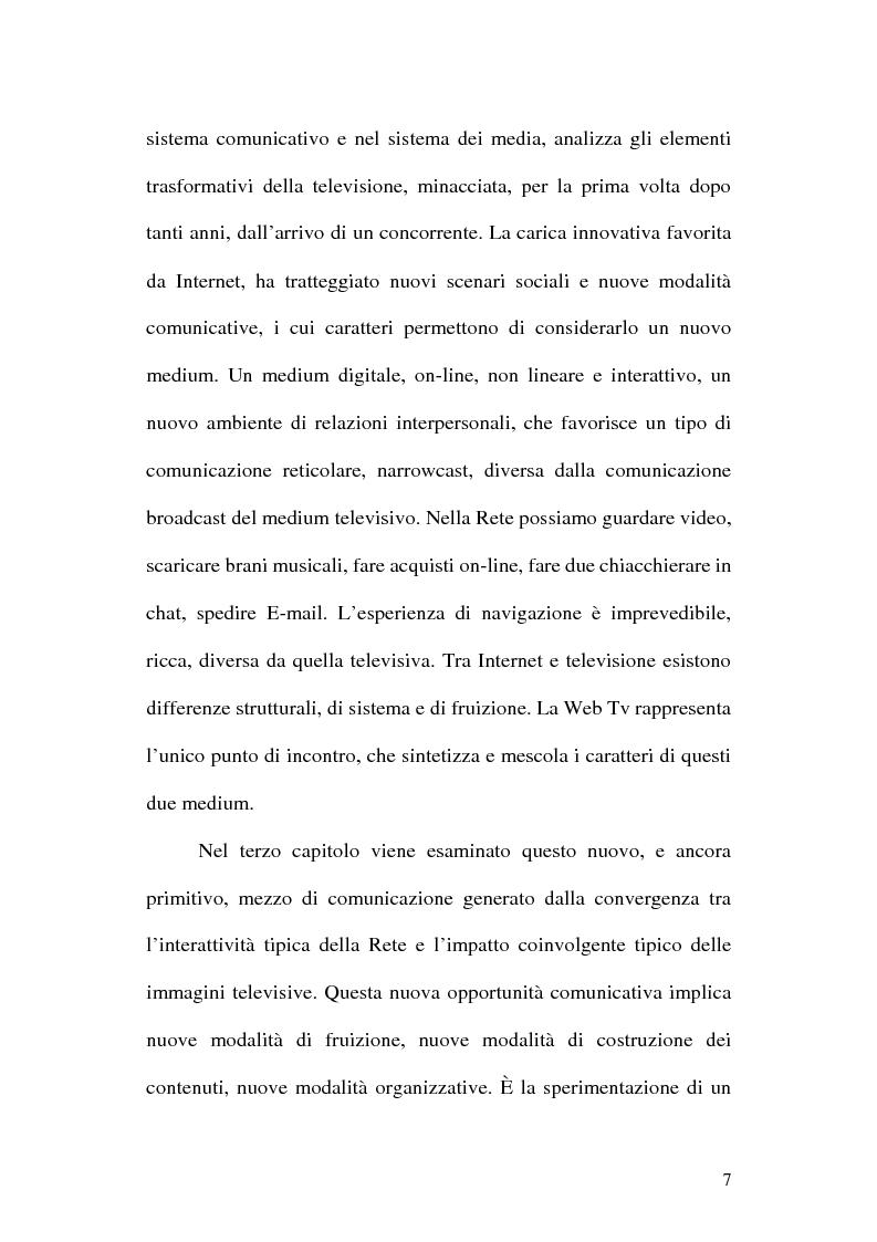 Anteprima della tesi: Web television, il medium della convergenza. Potenzialità, plausibilità ed il case history del Centro MultiMediale di Terni, Pagina 4