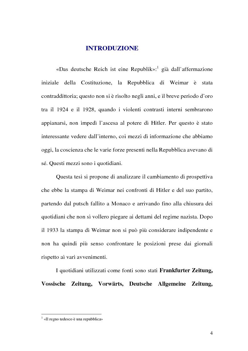 Anteprima della tesi: La figura di Hitler in alcuni quotidiani tedeschi (1923-1933), Pagina 1