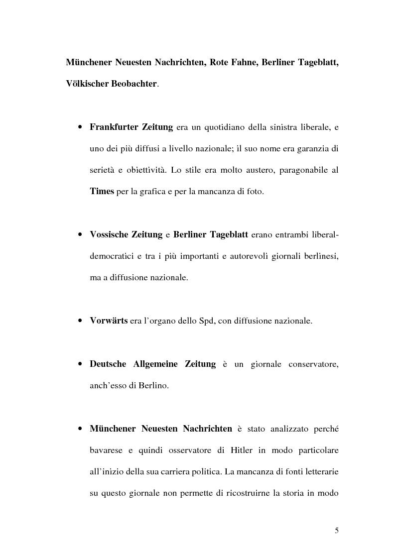 Anteprima della tesi: La figura di Hitler in alcuni quotidiani tedeschi (1923-1933), Pagina 2