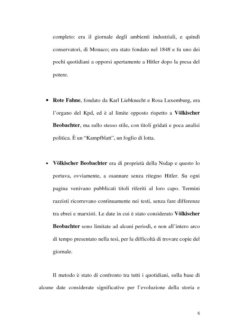 Anteprima della tesi: La figura di Hitler in alcuni quotidiani tedeschi (1923-1933), Pagina 3
