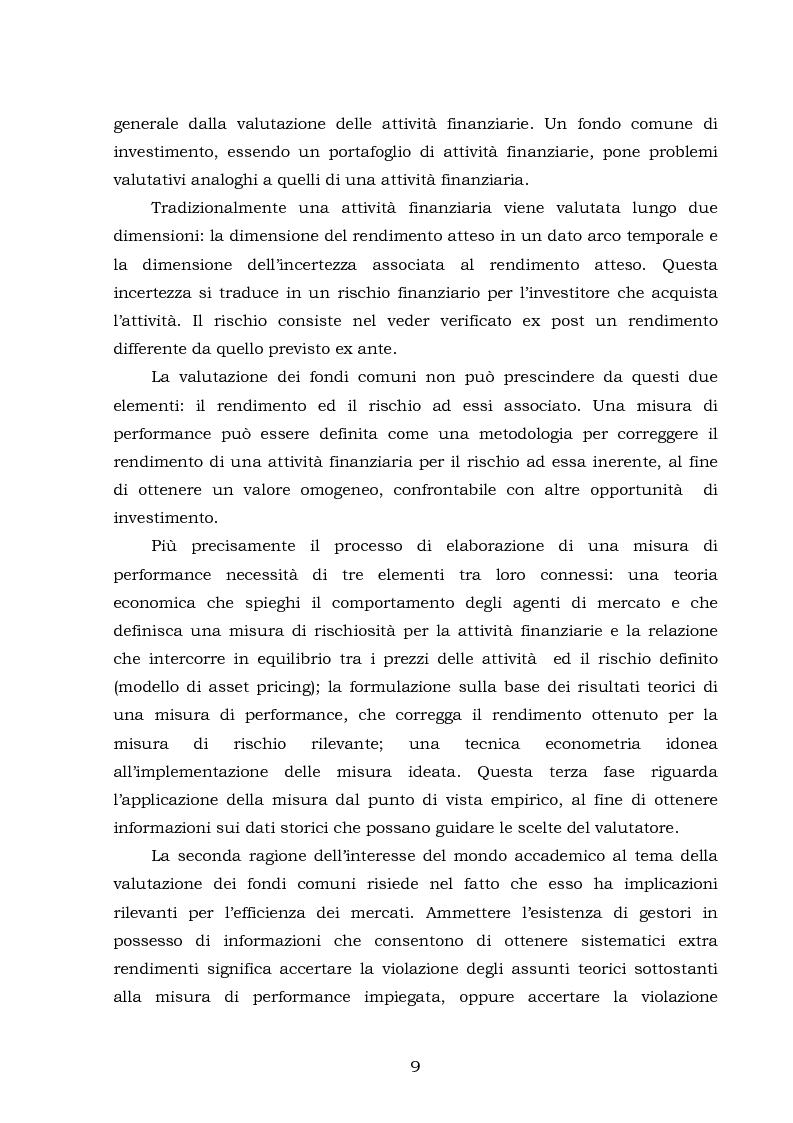 Anteprima della tesi: La performance dei fondi comuni: analisi e valutazione economica, Pagina 2