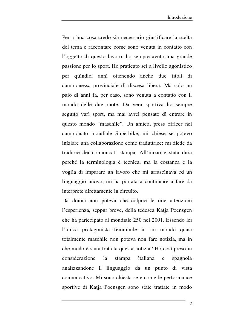Anteprima della tesi: Il linguaggio sportivo nei giornali italiani e spagnoli. ll caso del motomondiale 2001, Pagina 2