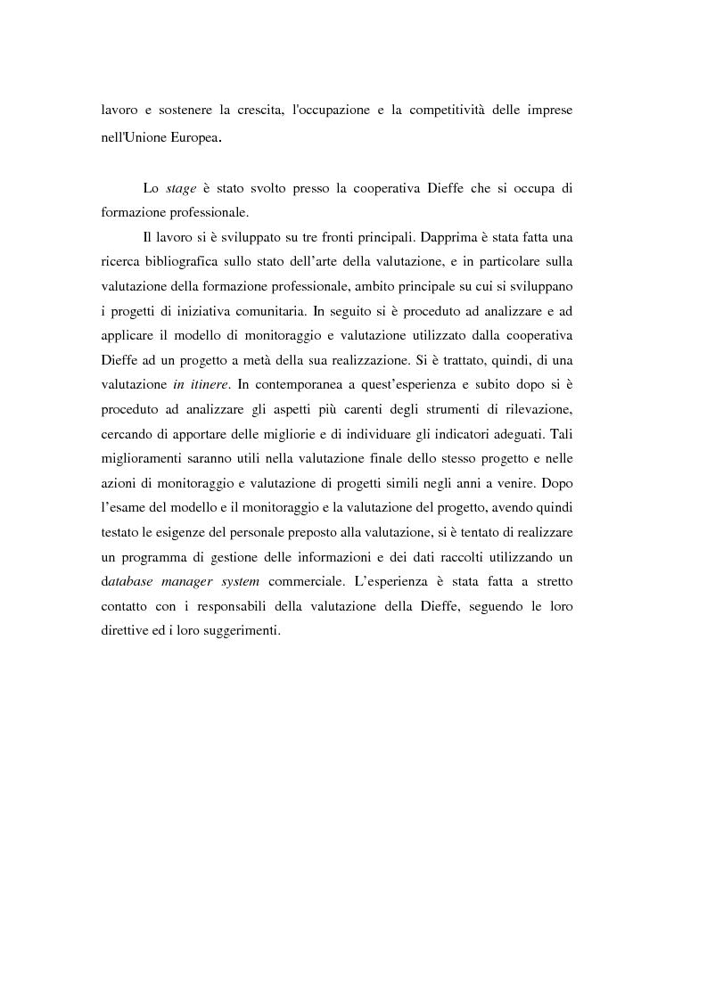 Anteprima della tesi: Nuove frontiere per la valutazione: un possibile approccio per un progetto di iniziativa comunitaria, Pagina 2