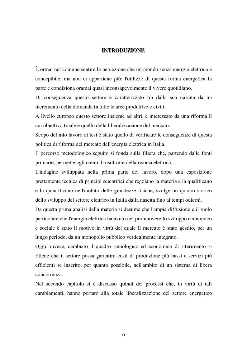 Anteprima della tesi: Produzione e distribuzione dell'energia elettrica in Italia. Gli effetti delle recenti normative, Pagina 1