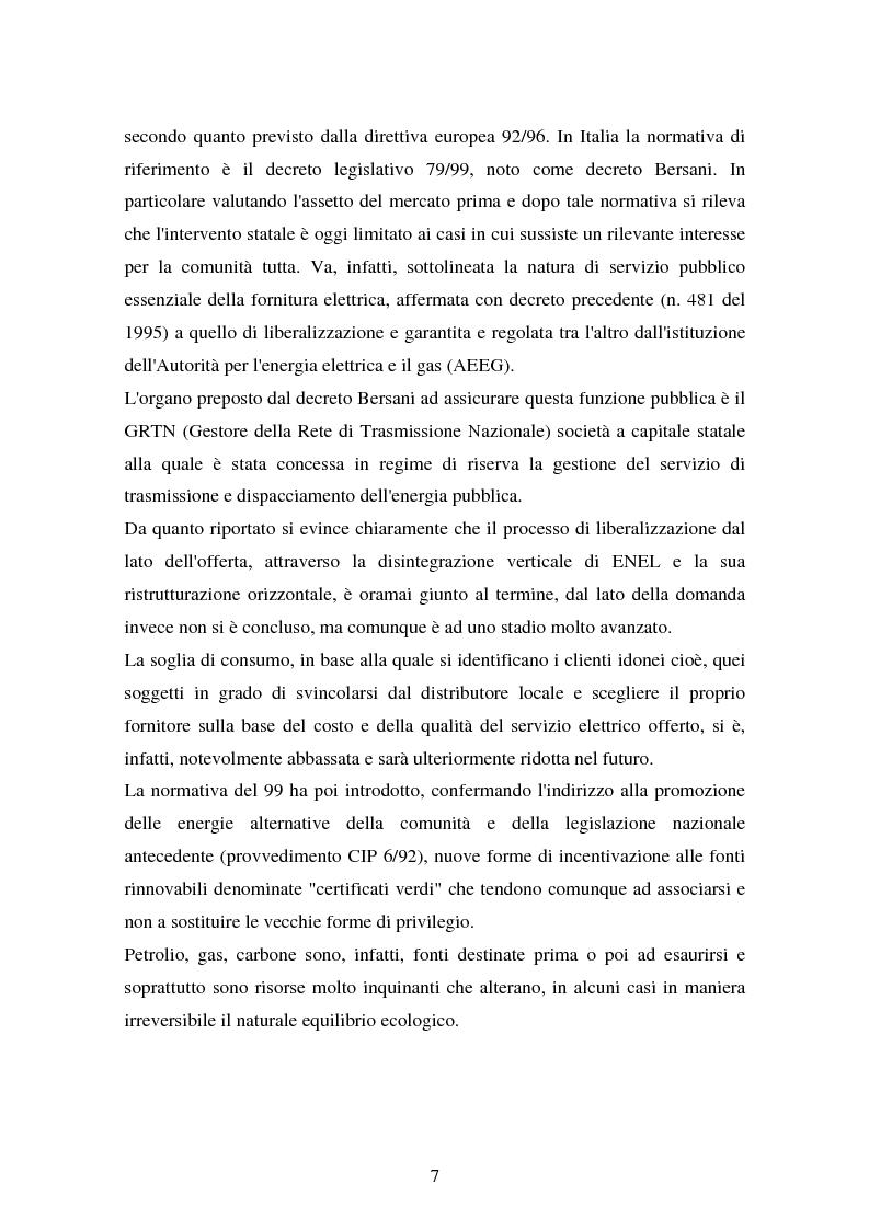 Anteprima della tesi: Produzione e distribuzione dell'energia elettrica in Italia. Gli effetti delle recenti normative, Pagina 2