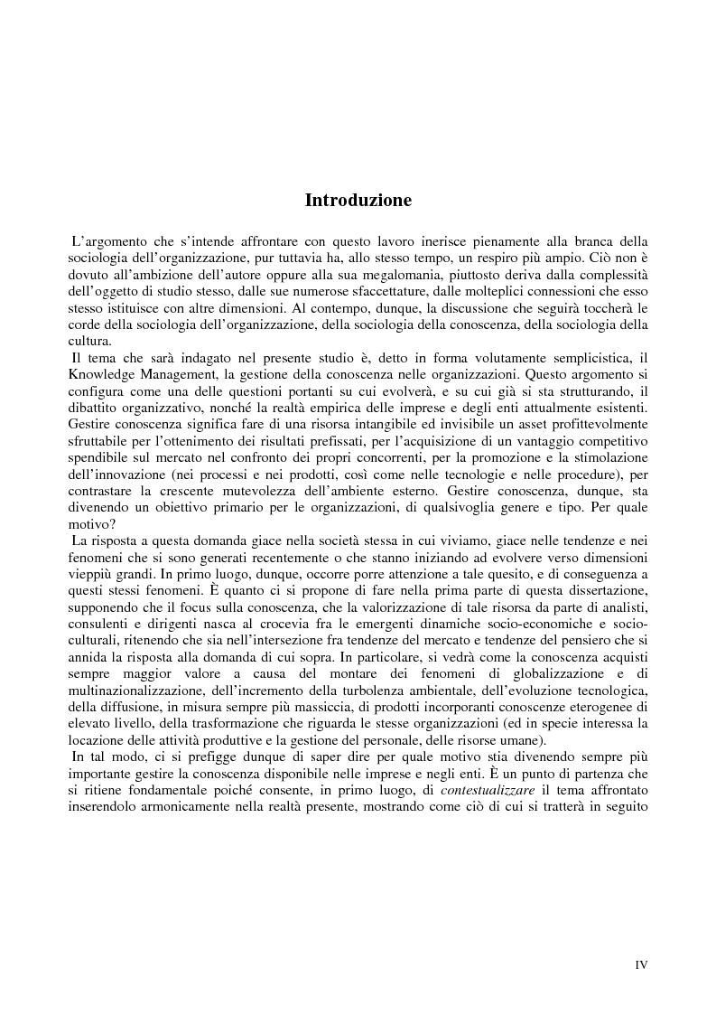 Anteprima della tesi: La costruzione sociale del knowledge management: opportunità ed ostacoli, Pagina 1