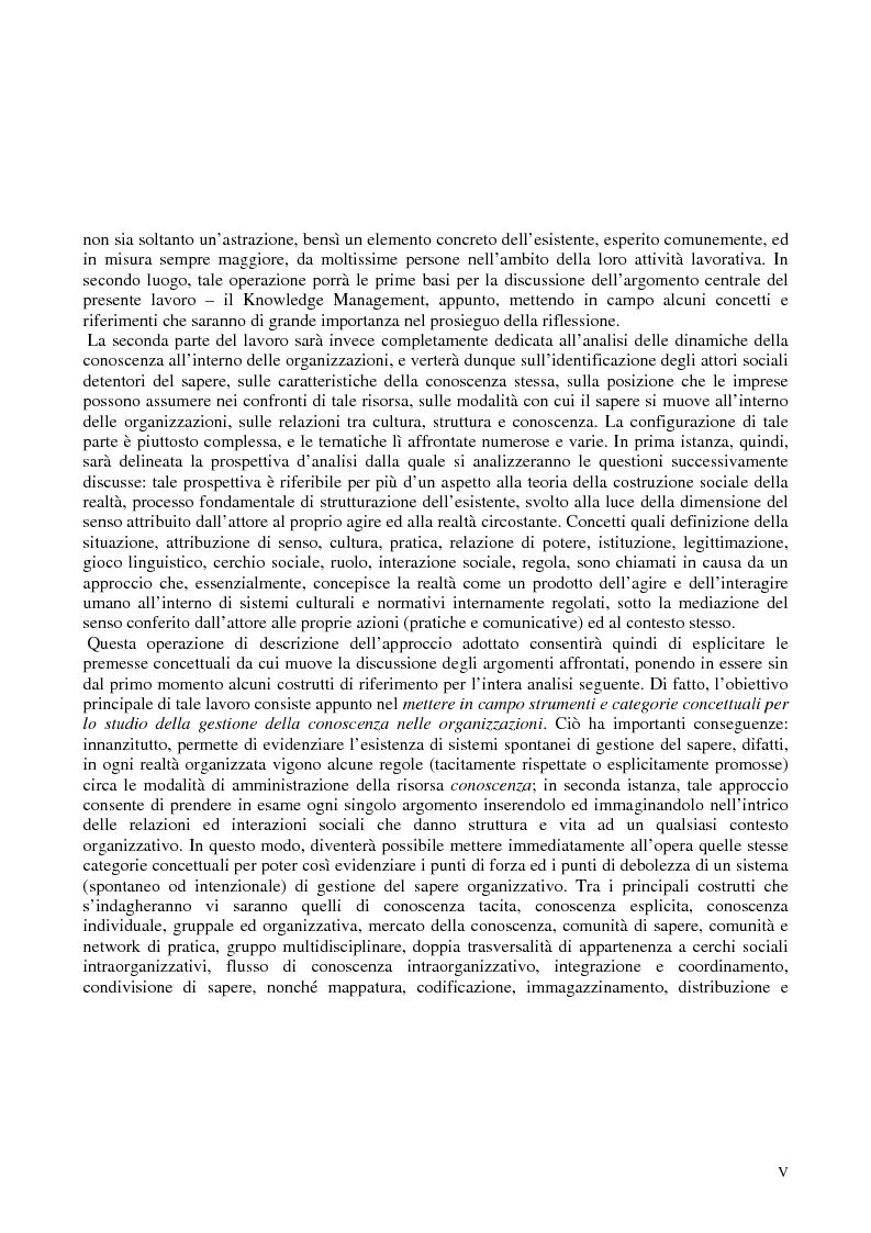 Anteprima della tesi: La costruzione sociale del knowledge management: opportunità ed ostacoli, Pagina 2