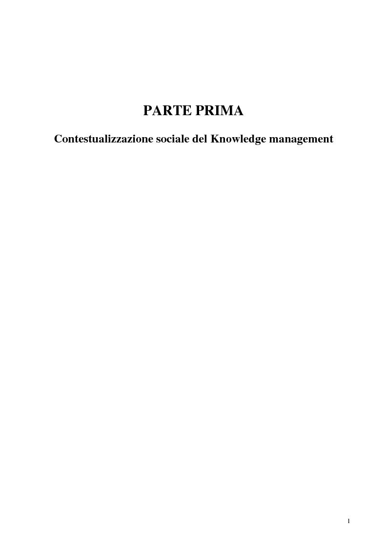 Anteprima della tesi: La costruzione sociale del knowledge management: opportunità ed ostacoli, Pagina 5