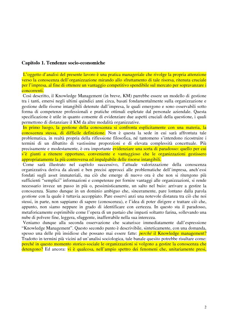 Anteprima della tesi: La costruzione sociale del knowledge management: opportunità ed ostacoli, Pagina 6