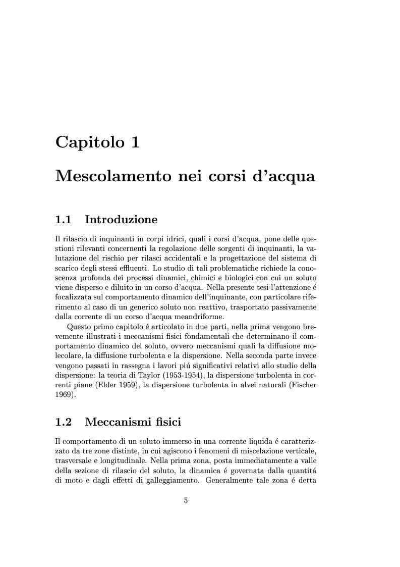 Anteprima della tesi: Studio della dispersione in alvei meandriformi, Pagina 2