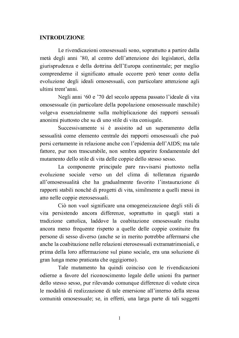 Anteprima della tesi: La convivenza fra persone dello stesso sesso, Pagina 1