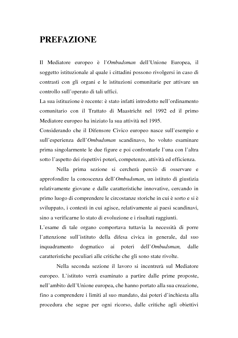 Anteprima della tesi: Il Mediatore europeo e la figura dell'Ombudsman nei Paesi Scandinavi, Pagina 1
