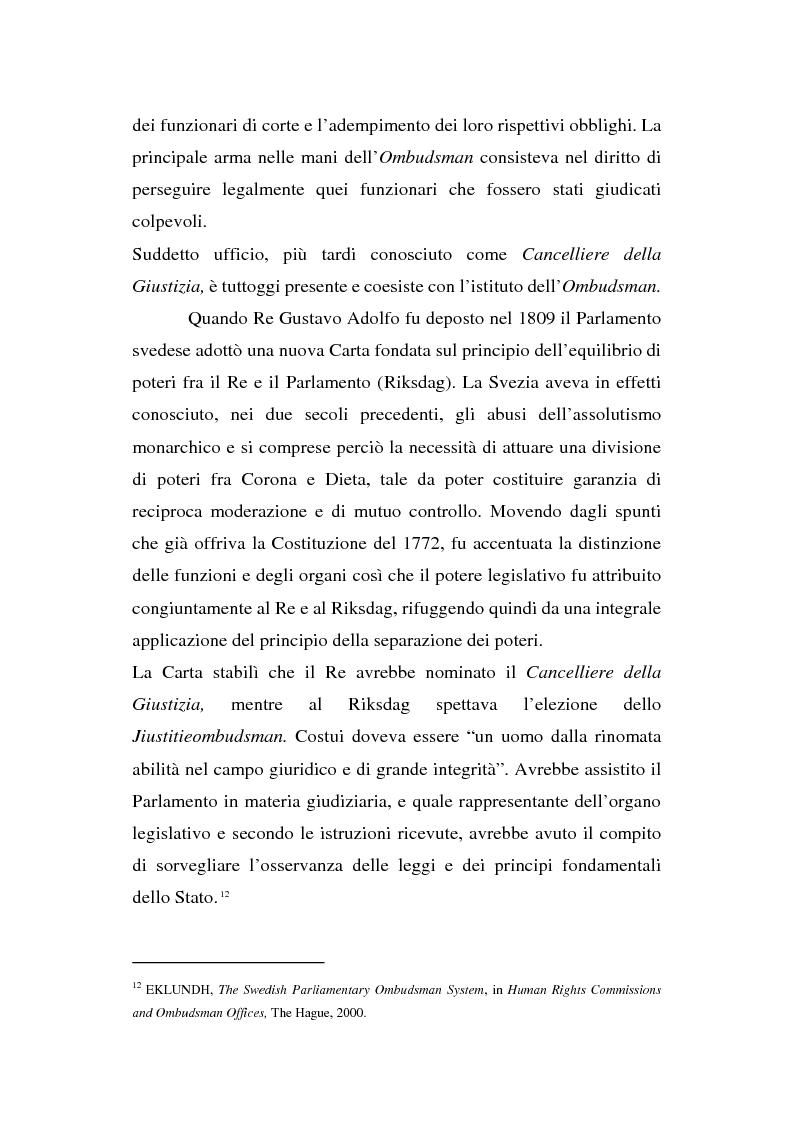 Anteprima della tesi: Il Mediatore europeo e la figura dell'Ombudsman nei Paesi Scandinavi, Pagina 11