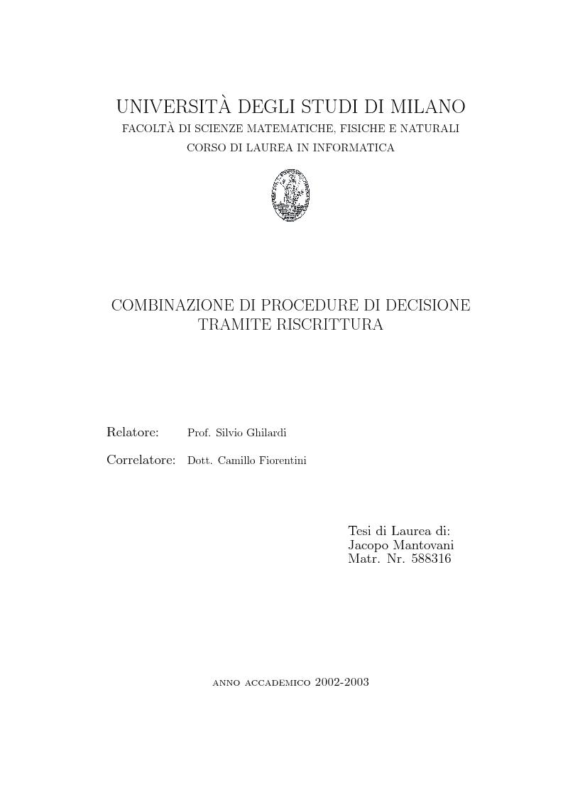 Anteprima della tesi: Combinazione di procedure di decisione tramite riscrittura, Pagina 1