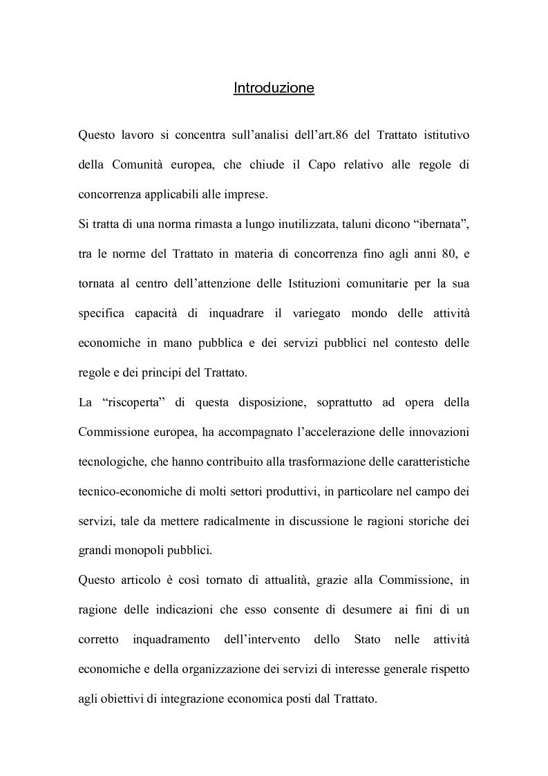 Anteprima della tesi: L'art. 86 del Trattato Ce e la liberalizzazione dei servizi pubblici in Europa, Pagina 1