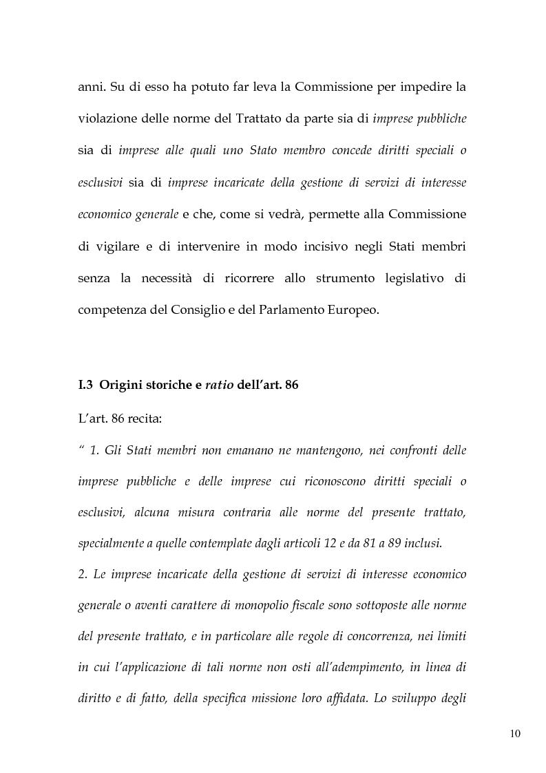 Anteprima della tesi: L'art. 86 del Trattato Ce e la liberalizzazione dei servizi pubblici in Europa, Pagina 13