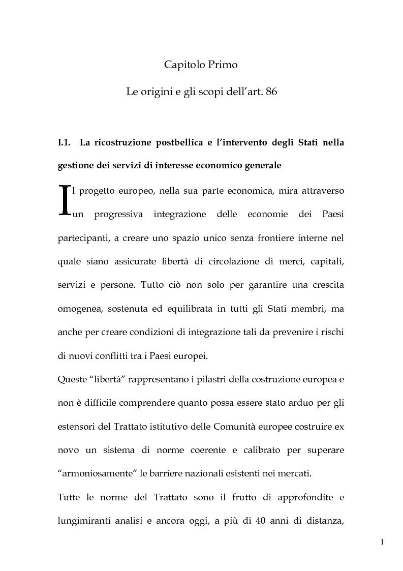 Anteprima della tesi: L'art. 86 del Trattato Ce e la liberalizzazione dei servizi pubblici in Europa, Pagina 4