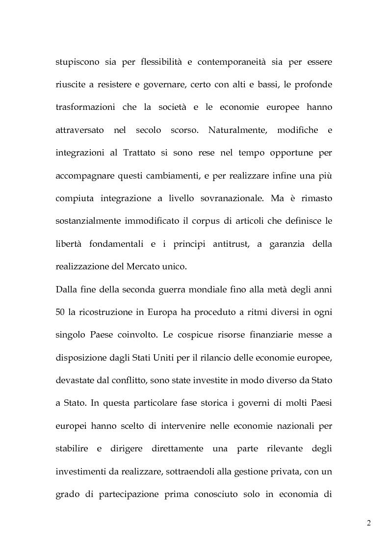 Anteprima della tesi: L'art. 86 del Trattato Ce e la liberalizzazione dei servizi pubblici in Europa, Pagina 5